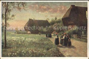 Hoffmann Heinrich Sonntag Morgen Trachten Schwarzwaldhaus Kat. Kuenstlerkarte