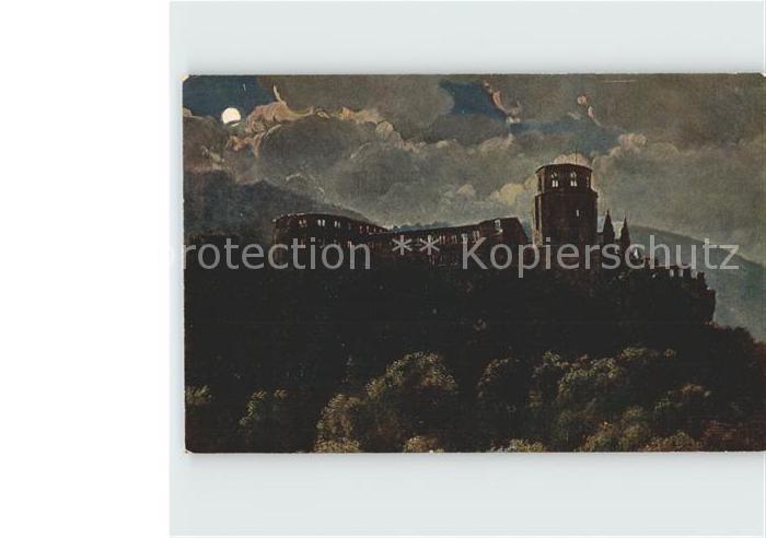 Hoffmann Heinrich Schloss Heidelberg bei Nacht  Kat. Kuenstlerkarte