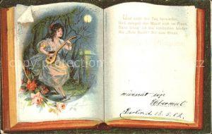Mandoline Frau Rosen Buch Gedicht Litho Kat. Musik