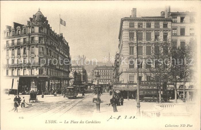 Strassenbahn Lyon Place des Cordeliers  Kat. Strassenbahn