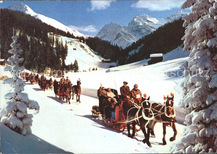 Schlitten Schnee Pferdeschlitten Davos Sertigtal Kat. Sport