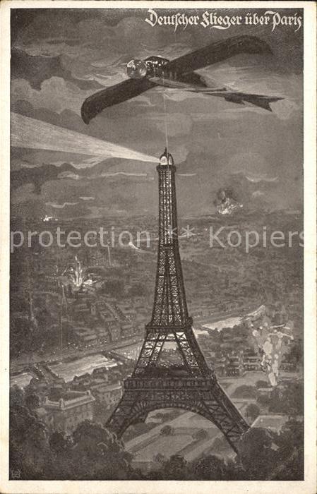 Flugzeuge WK1 Deutscher Flieger ueber Paris Deutscher Luftflottenverein / Militaria Airplanes Avions /
