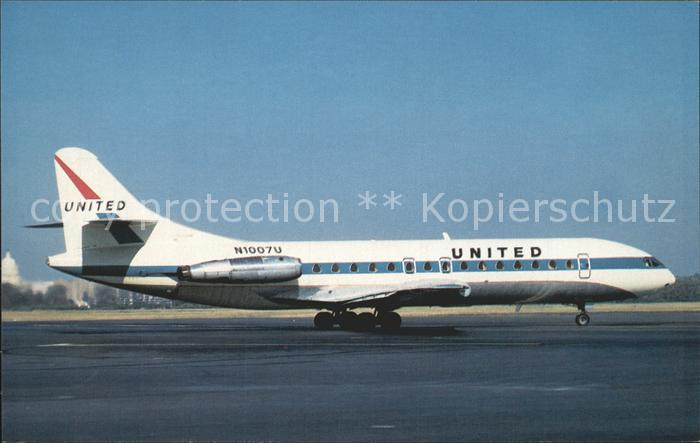 Flugzeuge Zivil United Airlines Sud Aviation Caravelle 6R N1007 U c n 92 Kat. Airplanes Avions