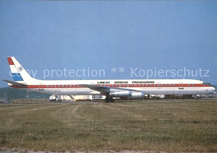 Flugzeuge Zivil Lineas Aereas Paraguayas Douglas DC8 63 Kat. Airplanes Avions