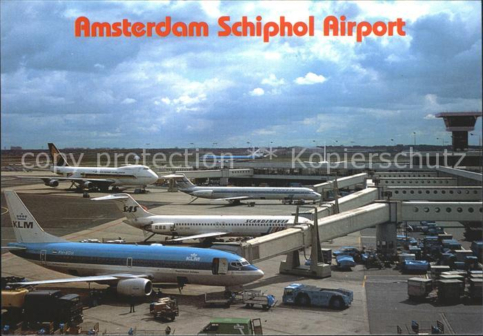 Flughafen Airport Aeroporto Amsterdam Schiphol Flugzeuge KLM SAS  Kat. Flug