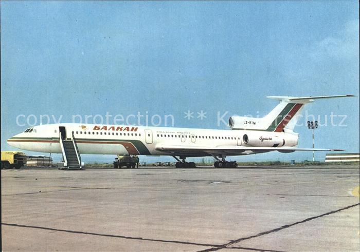 Flugzeuge Zivil Balkan Bulgarian Airlines Tupolev 154 Airport Burgas  Kat. Airplanes Avions