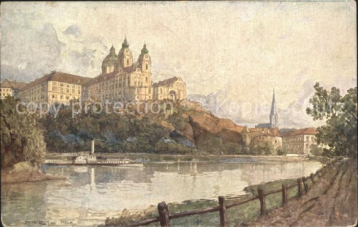 Kuenstlerkarte Fritz Lach Nibelungenweg Melk an der Donau Benediktinerstift  Kat. Kuenstlerkarte
