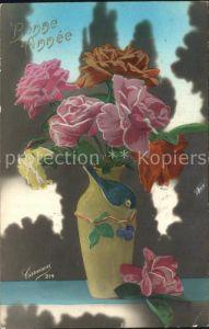 Verlag Carmen Nr. 314 Rosen Vase Neujahr  / Verlage /
