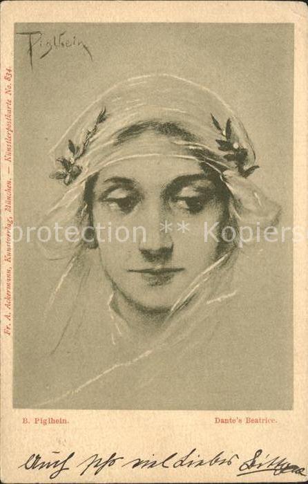 Kuenstlerkarte B. Piglhein Dante s Beatrice Kat. Kuenstlerkarte