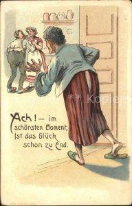 Humor Ehepaar Schwiegermutter Glueck Ende Litho Kat. Humor
