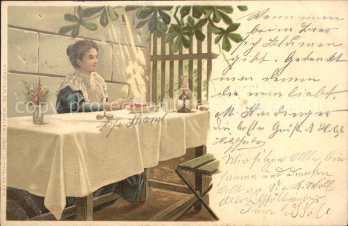 Lithographie Schere Kirschen Frau  Kat. Druckereigewerbe