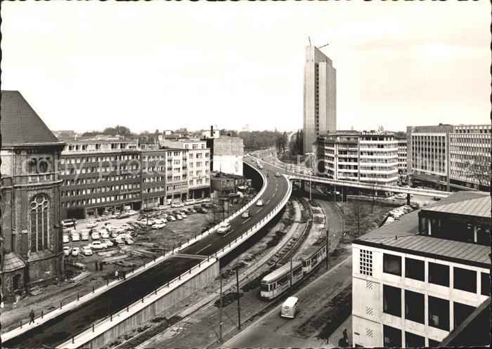 Strassenbahn Duesseldorf Hochstrasse Thyssen Haus am Jan Wellem Platz Kat. Strassenbahn