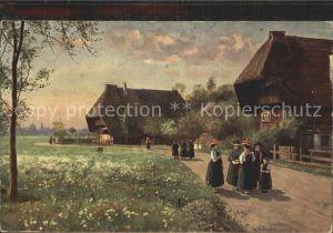 Hoffmann Heinrich Sonntag Morgen Trachten Schwarzwald  Kat. Kuenstlerkarte