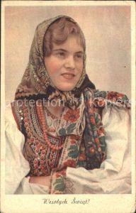 Trachten Polen Frau Perlenkette Frohe Weihnachten  / Trachten /