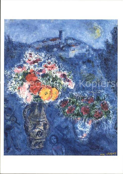 Kuenstlerkarte Marc Chagall Bouquet de violettes  Kat. Kuenstlerkarte