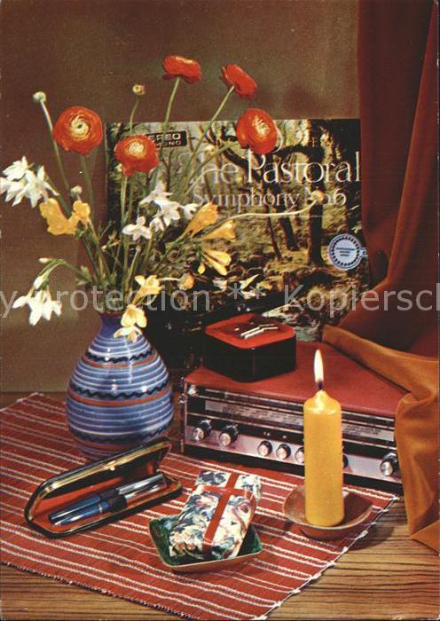 Radio Kugelschreiber Set Kerze Blumen Schallplatte The Pastoral Symphony Kat. Technik