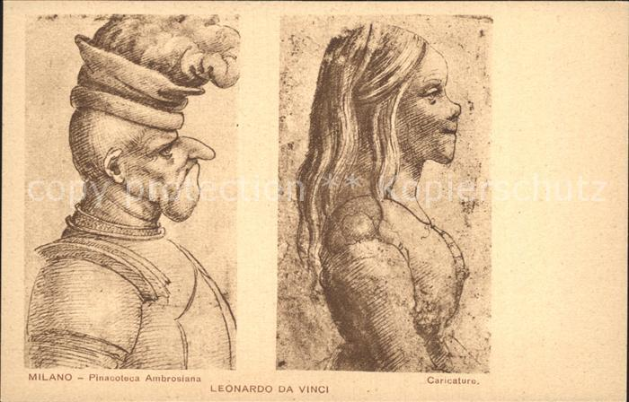 Leonardo Da Vinci Caricature Milano Pinacoteca Ambrosiana Kat