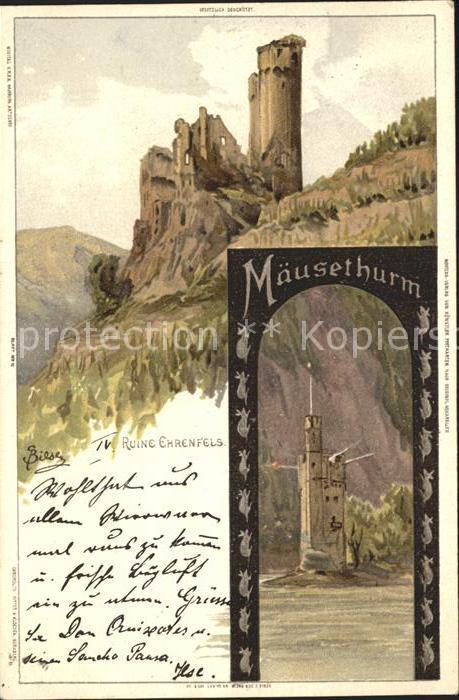 Biese Carl Karl Ruine Ehrenfels Maeuseturm  Kat. Kuenstlerlitho