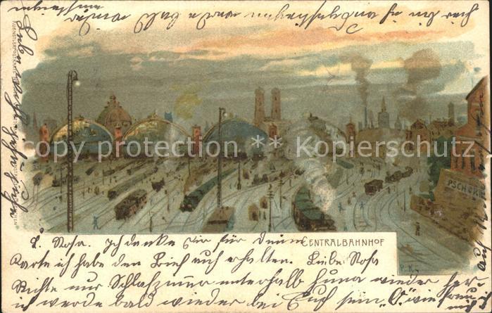 Verlag Ottmar Zieher Muenchen OZM Nr. 1028 Muenchen Centralbahnhof Litho / Verlage /