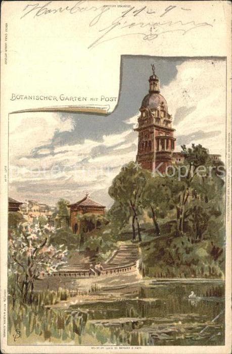 Biese Carl Karl Botanischer Garten mit Post Hamburg Kat. Kuenstlerlitho