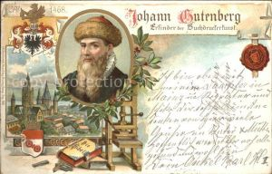 Gutenberg Johannes Buchdruck Mainz Litho Kat. Druckereigewerbe