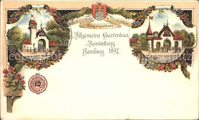Gartenbauaustellung Hamburg Millerntor Holstentor Litho Kat. Expositions