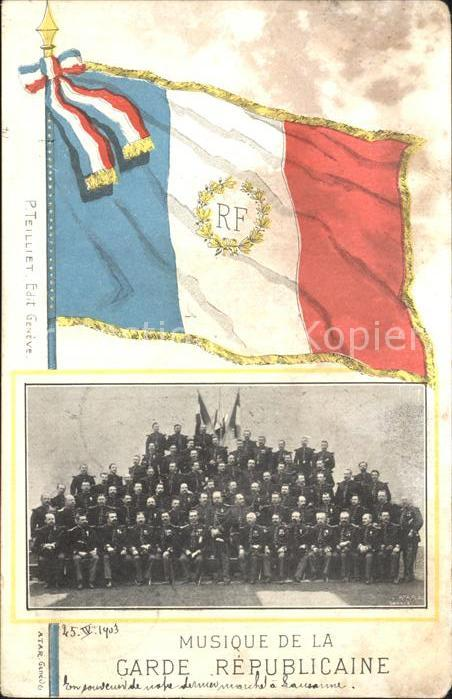 Leibgarde Wache Garde republicaine Musique Frankreich Fahne  Kat. Polizei