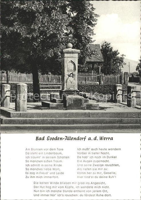 Allendorf Bad Sooden Zimmersbrunnen und Gedicht Kat. Bad Soden am Taunus