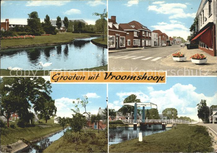 Vroomshoop Schwanenteich Strassenpartie Kanal Bruecke Kat. Niederlande
