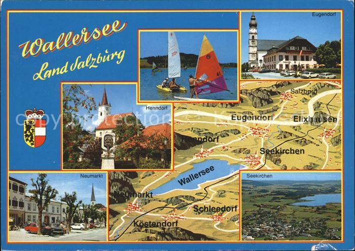 Wallersee und Umgebung Landkarte Windsurfing Wappen Kat. Salzburg