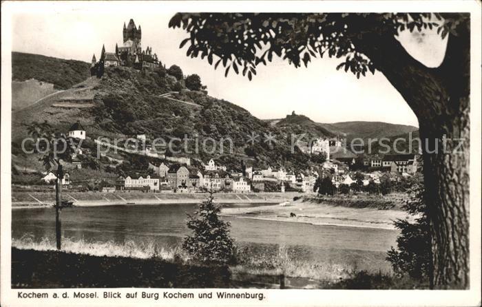 Cochem Mosel Blick auf Burg Kochem und Winnenburg Kat. Cochem