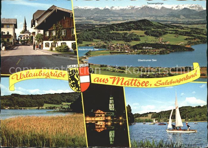 Mattsee Salzburg mit Obertrumer und Niedetrumer See Dorfpartie Kirche Kat. Mattsee