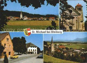 St Michael Kaernten Ortsansicht Kirche Strassenpartie