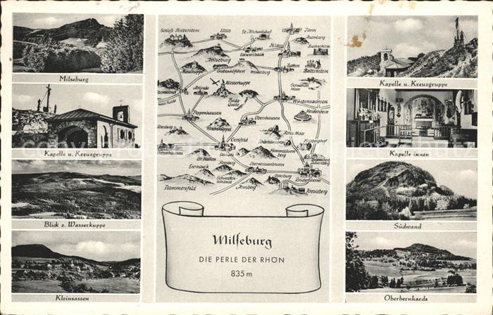 Milseburg und Umgebung Die Perle der Rhoen Landkarte Kat. Hilders