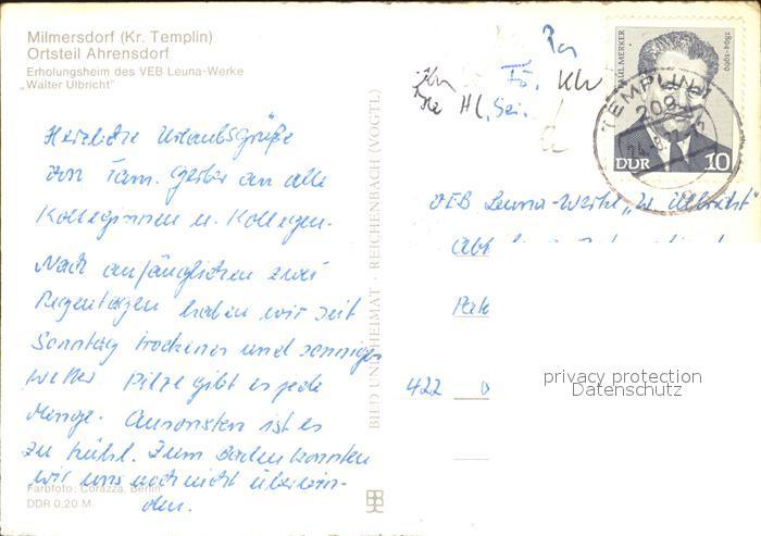 Ahrensdorf Templin Erholungsheim des VEB Leuna Werke Walter Ulbricht / Templin /Uckermark LKR 1