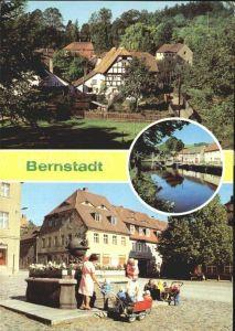 Bernstadt Loebau Teilansichten Partie am Fluss Brunnen