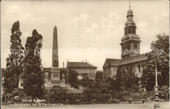Worms Rhein Ludwigsplatz mit St Martinskirche Kat. Worms