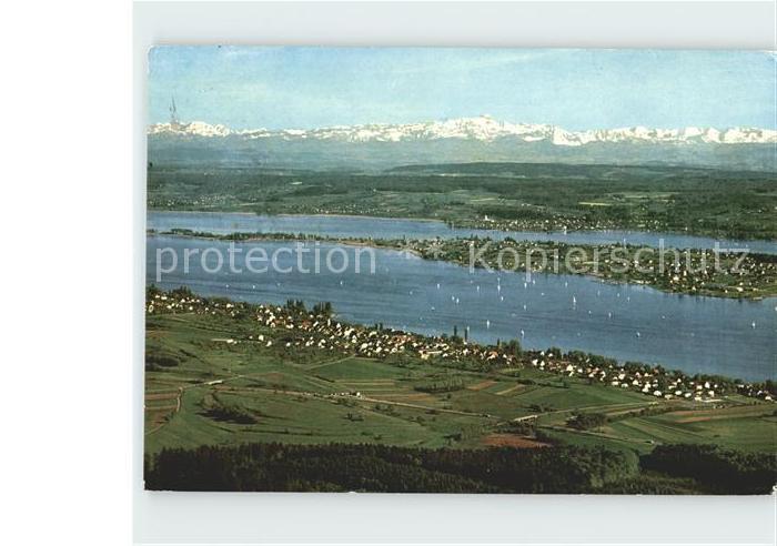 Allensbach Bodensee mit Insel Reichenau und S?ntismassiv Kat. Allensbach Bodensee