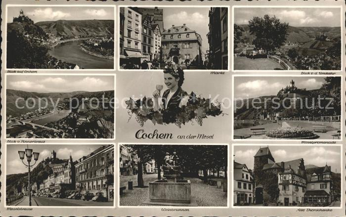 Cochem Mosel Blick vom Pinnerkreuz Moselstrasse Weinbrunnen  Kat. Cochem
