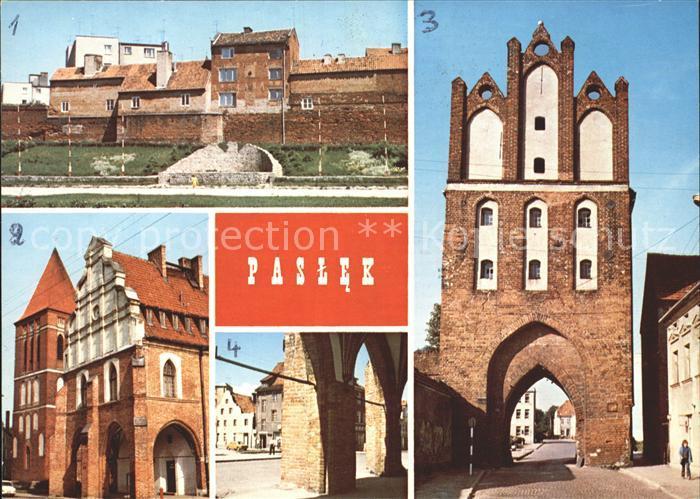 Paslek Fragment miasta Kamienna Wieza Ratusz Widok na ulice Boleslawa Chrobrego Kat. Paslek = Preussisch Holland 0