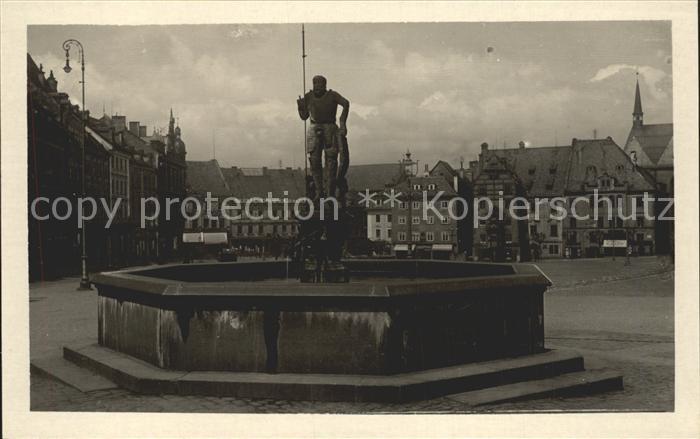 Eger Erlau Markt mit Brunnen Wastl Kat. Eger