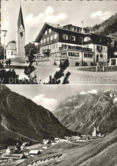 Mittelberg Kleinwalsertal Hotel Pension Neue Krone Kirche Totalansicht Kat. Oesterreich