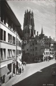 Fribourg FR Strassenpartie Kirche Kat. Fribourg FR