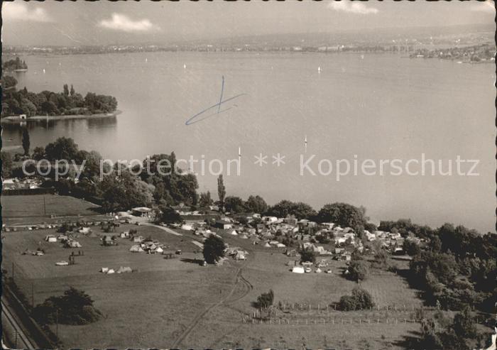 Allensbach Bodensee Campingplatz Willam mit Insel Reichenau und Markelfingen Kat. Allensbach Bodensee