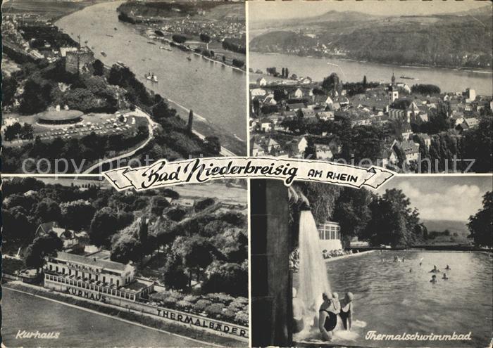 Bad Niederbreisig Fliegeraufnahme Rheinpartie Kurhaus Thermalschwimmbad Kat. Bad Breisig