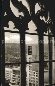 Stuttgart Rathaus Fenster Blick auf Stiftskirche Kat. Stuttgart