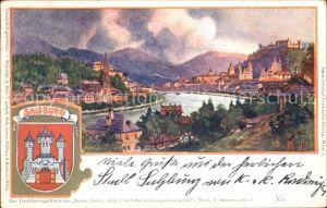 Salzburg Oesterreich Blick ueber die Salzach Festung Hohensalzburg Wappen Kuenstlerkarte Kat. Salzburg