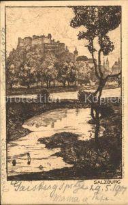 Salzburg Oesterreich Partie an der Salzach Festung Hohensalzburg Zeichnung Kuenstlerkarte Kat. Salzburg