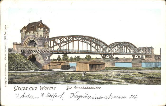 Worms Rhein Eisenbahnbruecke Kat. Worms