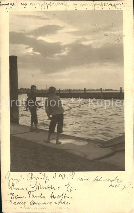 Rorschach Bodensee Kinder beim Angeln Kat. Rorschach